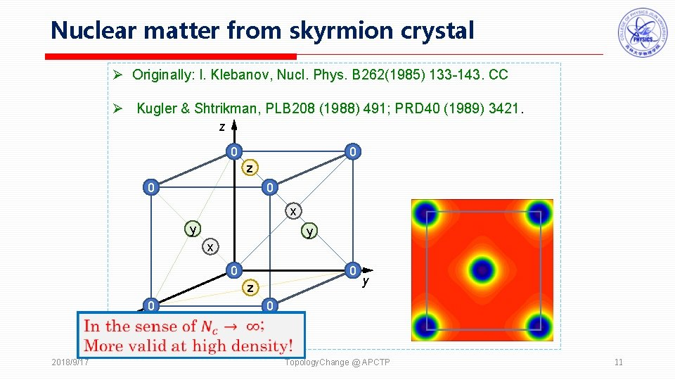 Nuclear matter from skyrmion crystal Ø Originally: I. Klebanov, Nucl. Phys. B 262(1985) 133
