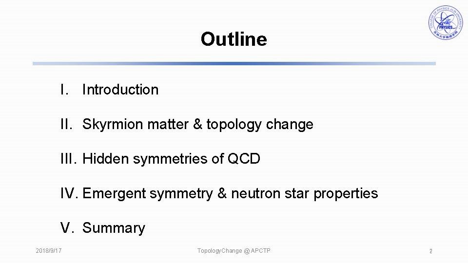Outline I. Introduction II. Skyrmion matter & topology change III. Hidden symmetries of QCD