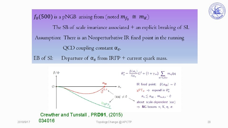 2018/9/17 Crewther and Tunstall , PRD 91, (2015) 034016 Topology. Change @ APCTP