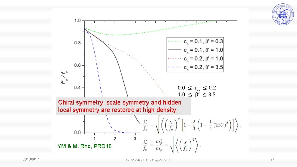 Chiral symmetry, scale symmetry and hidden local symmetry are restored at high density.