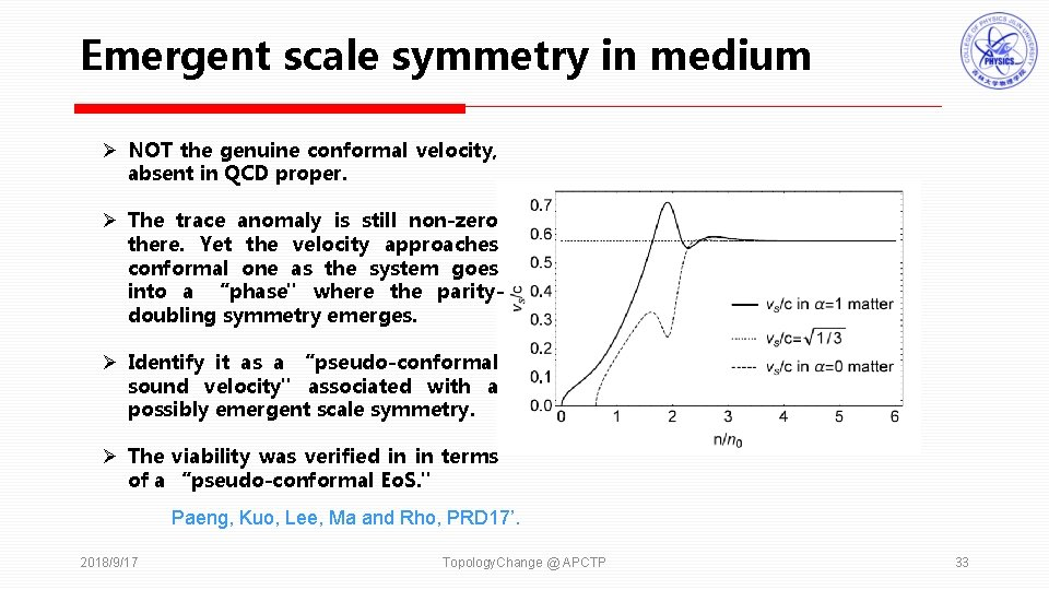Emergent scale symmetry in medium Ø NOT the genuine conformal velocity, absent in QCD
