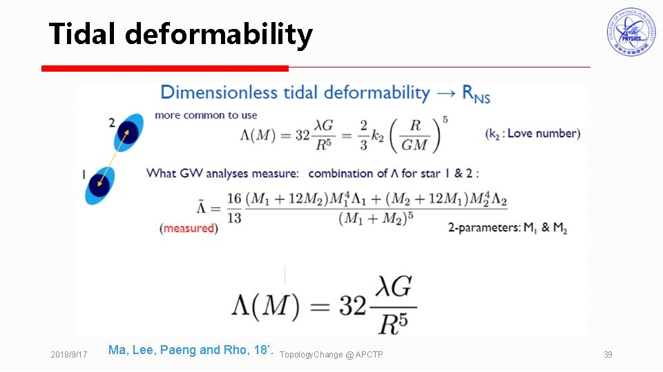 Tidal deformability 2018/9/17 Ma, Lee, Paeng and Rho, 18'. Topology. Change @ APCTP 39