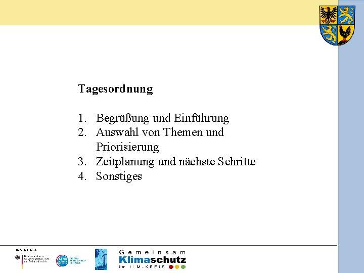 Tagesordnung 1. Begrüßung und Einführung 2. Auswahl von Themen und Priorisierung 3. Zeitplanung und