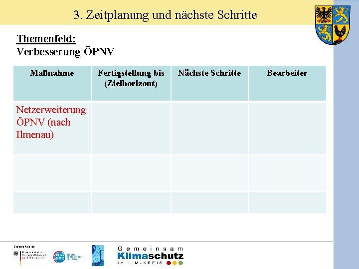 3. Zeitplanung und nächste Schritte Themenfeld: Verbesserung ÖPNV Maßnahme Netzerweiterung ÖPNV (nach Ilmenau) Gefördert