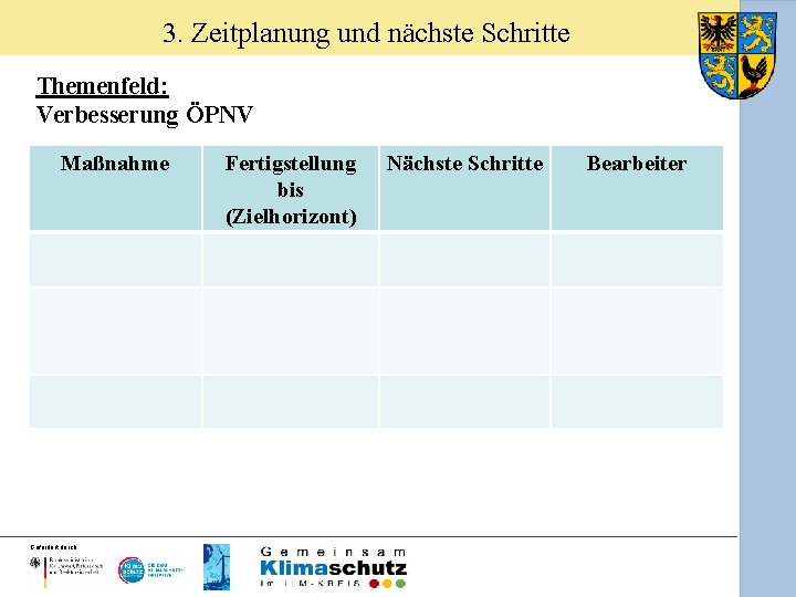 3. Zeitplanung und nächste Schritte Themenfeld: Verbesserung ÖPNV Maßnahme Gefördert durch: Fertigstellung bis (Zielhorizont)