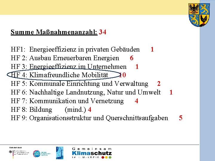 Summe Maßnahmenanzahl: 34 HF 1: Energieeffizienz in privaten Gebäuden 1 HF 2: Ausbau Erneuerbaren