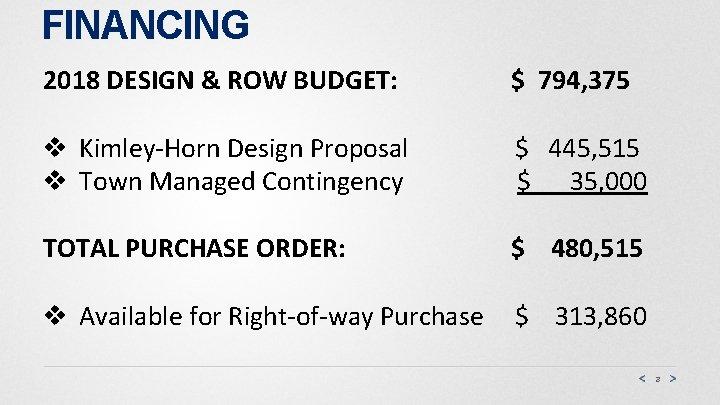 FINANCING 2018 DESIGN & ROW BUDGET: $ 794, 375 v Kimley-Horn Design Proposal v