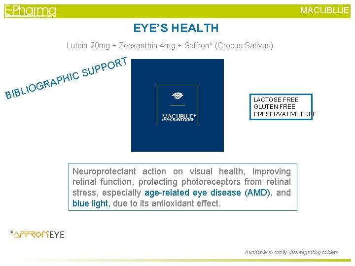 MACUBLUE EYE'S HEALTH Lutein 20 mg + Zeaxanthin 4 mg + Saffron* (Crocus Sativus)