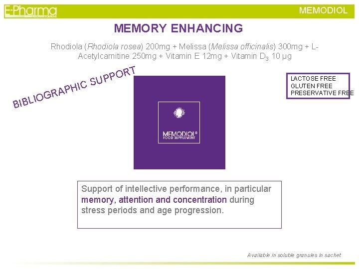 MEMODIOL MEMORY ENHANCING Rhodiola (Rhodiola rosea) 200 mg + Melissa (Melissa officinalis) 300 mg