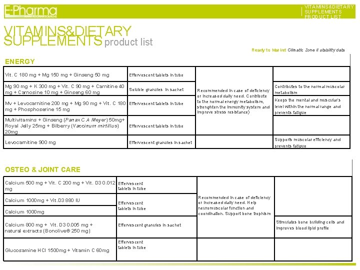 VITAMINS&DIETARY SUPPLEMENTS PRODUCT LIST VITAMINS&DIETARY SUPPLEMENTS product list VITAMINS&DIETARY SUPPLEMENTS PRODUCT LIST Ready to