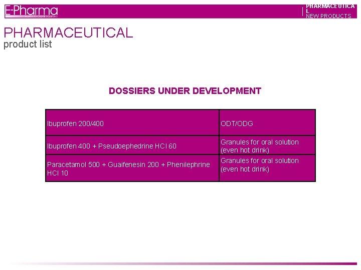 PHARMACEUTICA L NEW PRODUCTS PHARMACEUTICAL product list DOSSIERS UNDER DEVELOPMENT Ibuprofen 200/400 Ibuprofen 400