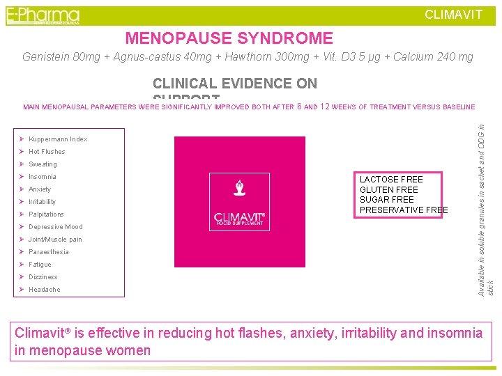 CLIMAVIT MENOPAUSE SYNDROME Genistein 80 mg + Agnus-castus 40 mg + Hawthorn 300 mg