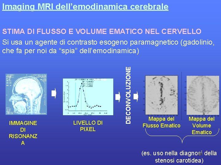 Imaging MRI dell'emodinamica cerebrale IMMAGINE DI RISONANZ A LIVELLO DI PIXEL DECONVOLUZIONE STIMA DI