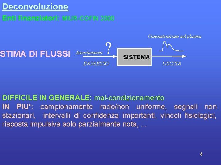 Deconvoluzione Enti finanziatori: MIUR-COFIN 2000 STIMA DI FLUSSI Assorbimento ? INGRESSO Concentrazione nel plasma