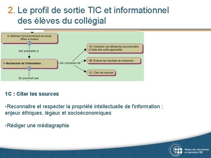 2. Le profil de sortie TIC et informationnel des élèves du collégial 1 C