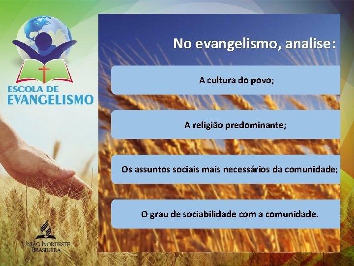 No evangelismo, analise: A cultura do povo; A religião predominante; Os assuntos sociais mais