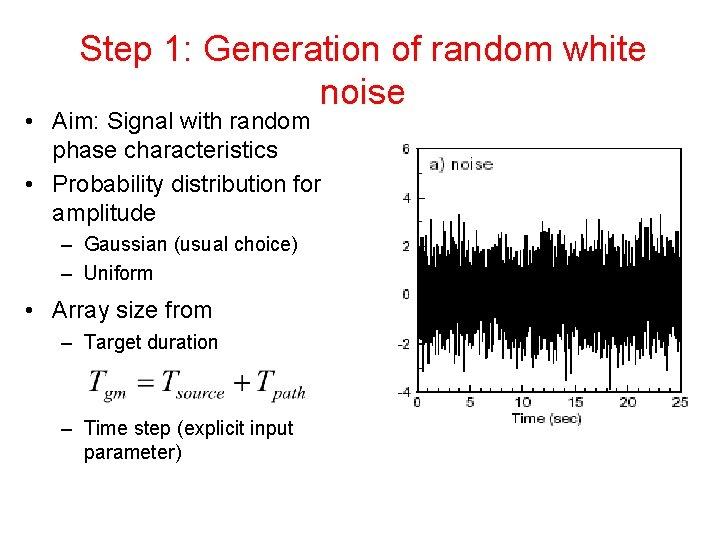 Step 1: Generation of random white noise • Aim: Signal with random phase characteristics