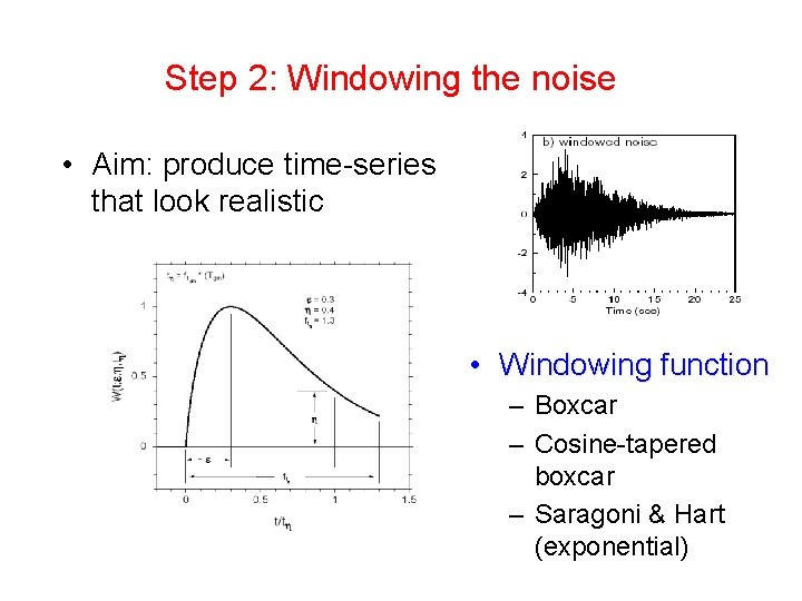 Step 2: Windowing the noise • Aim: produce time-series that look realistic • Windowing