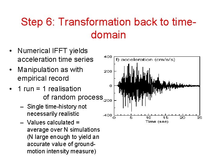 Step 6: Transformation back to timedomain • Numerical IFFT yields acceleration time series •
