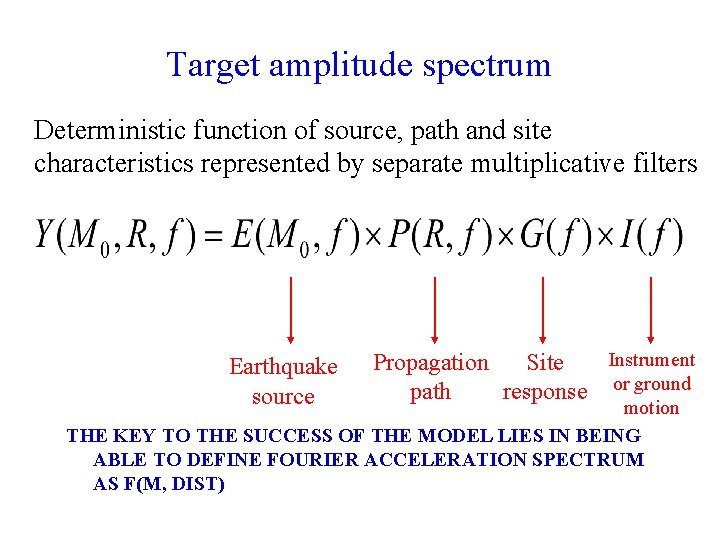Target amplitude spectrum Deterministic function of source, path and site characteristics represented by separate