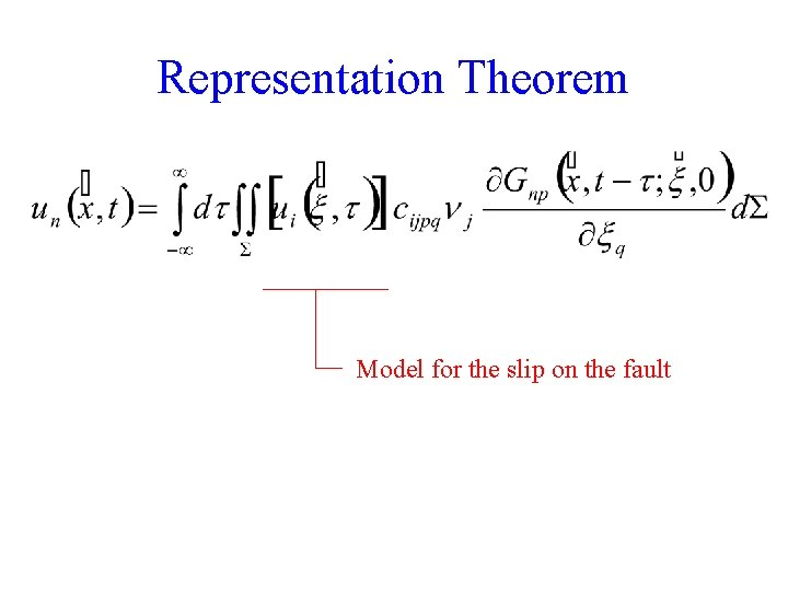 Representation Theorem Model for the slip on the fault 6