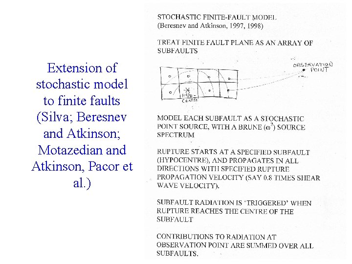 Extension of stochastic model to finite faults (Silva; Beresnev and Atkinson; Motazedian and Atkinson,