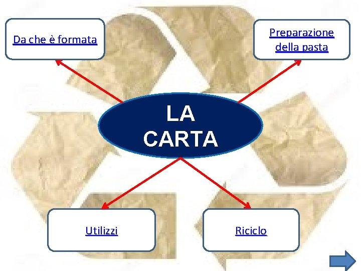 Preparazione della pasta Da che è formata LA CARTA Utilizzi Riciclo