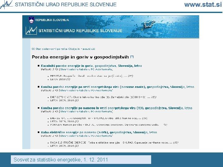 Sosvet za statistiko energetike, 1. 12. 2011