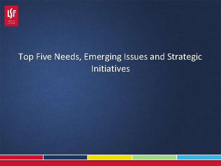 Top Five Needs, Emerging Issues and Strategic Initiatives