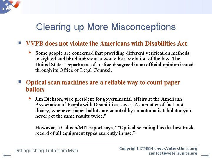 Clearing up More Misconceptions § VVPB does not violate the Americans with Disabilities Act
