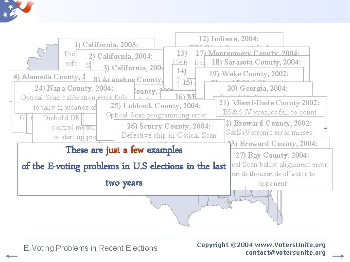 Map of E-Voting Problems 12) Indiana, 2004: 1) California, 2003: ES&S installs uncertified 13)
