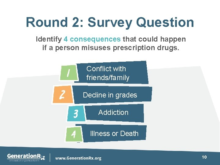Round 2: Survey Question Identify 4 consequences that could happen if a person misuses