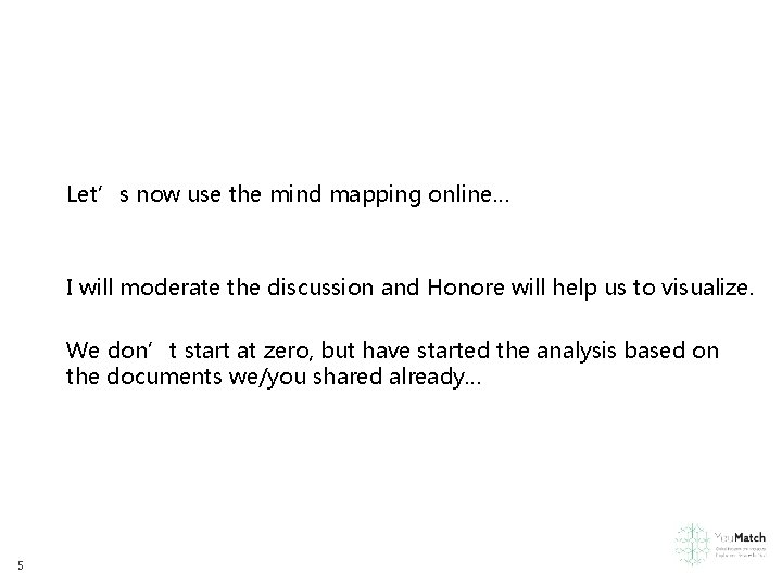Let's now use the mind mapping online… I will moderate the discussion and Honore
