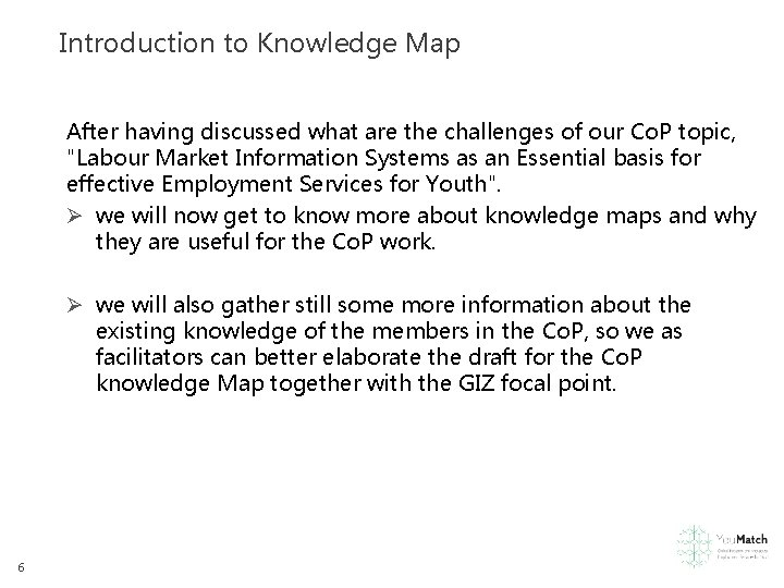 Introduction to Knowledge Map After having discussed what are the challenges of our Co.