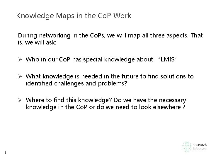 Knowledge Maps in the Co. P Work During networking in the Co. Ps, we