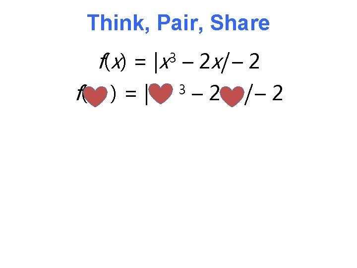 Think, Pair, Share f(x) = |x 3 – 2 x| – 2 f( )=|
