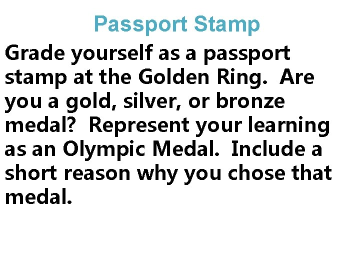 Passport Stamp Grade yourself as a passport stamp at the Golden Ring. Are you