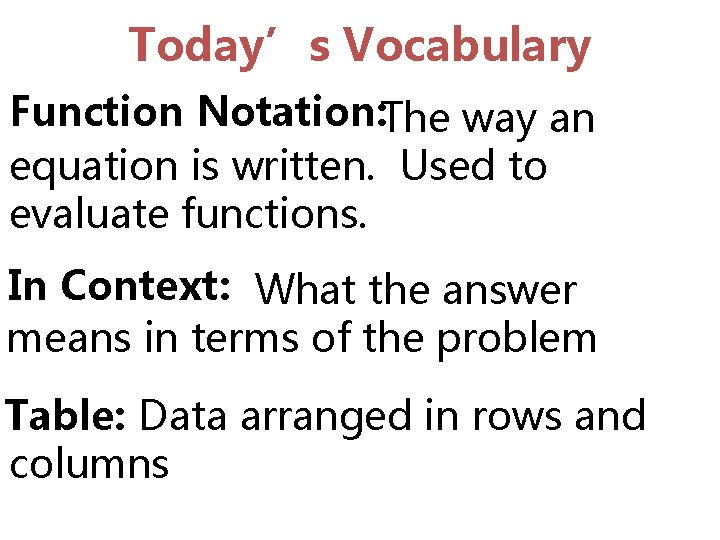 Today's Vocabulary Function Notation: The way an equation is written. Used to evaluate functions.