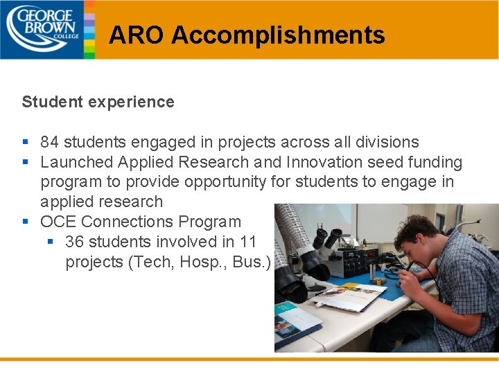 ARO Accomplishments Student experience § 84 students engaged in projects across all divisions §