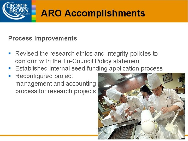 ARO Accomplishments Process improvements § Revised the research ethics and integrity policies to conform