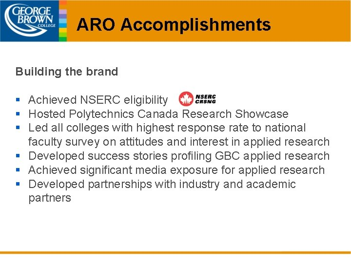 ARO Accomplishments Building the brand § Achieved NSERC eligibility § Hosted Polytechnics Canada Research