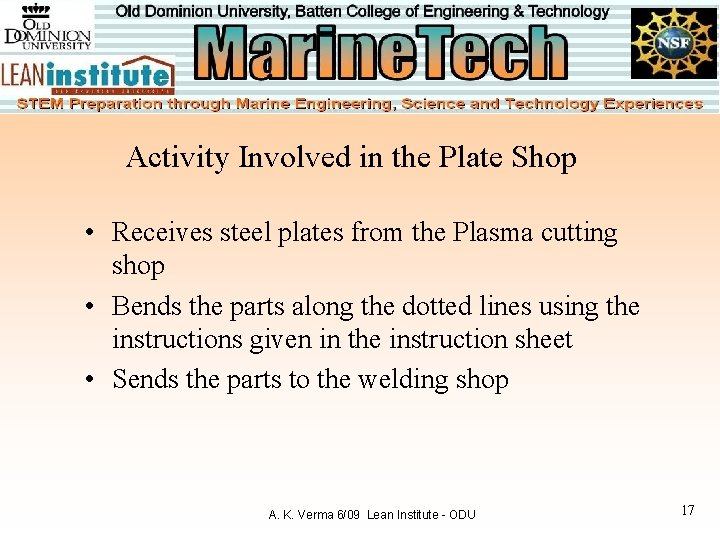 Activity Involved in the Plate Shop • Receives steel plates from the Plasma cutting