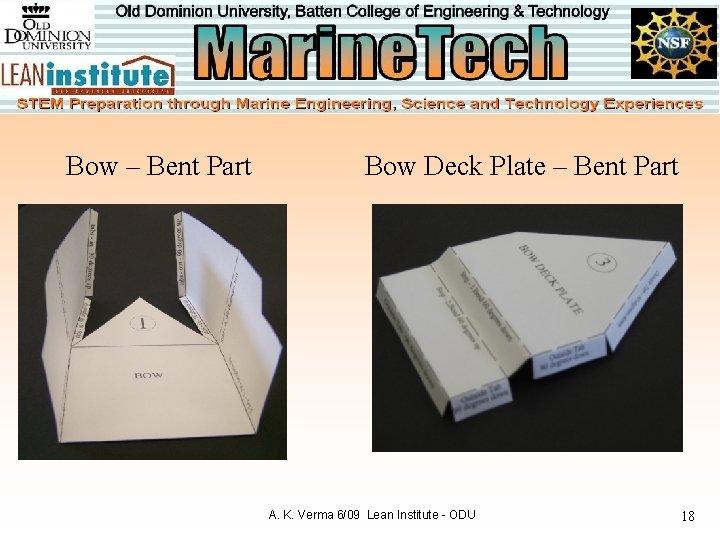 Bow – Bent Part Bow Deck Plate – Bent Part A. K. Verma 6/09