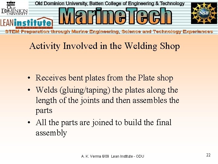 Activity Involved in the Welding Shop • Receives bent plates from the Plate shop