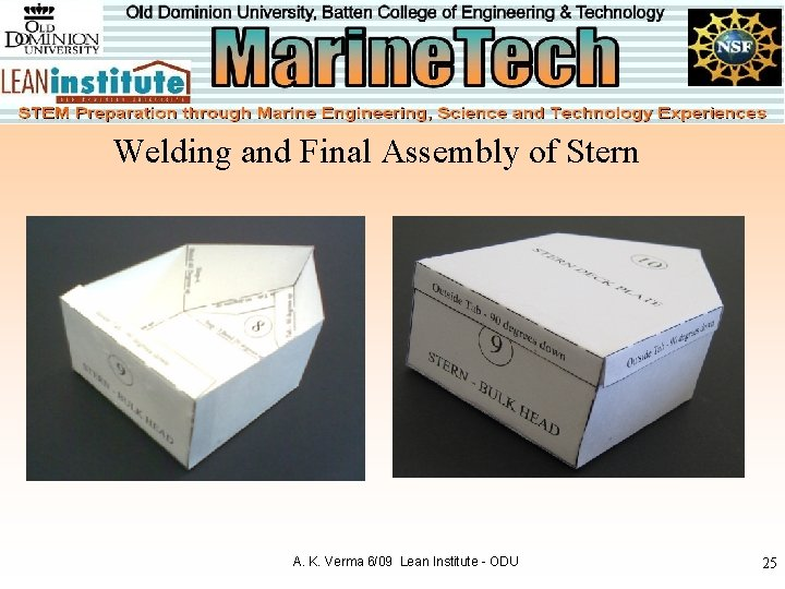 Welding and Final Assembly of Stern A. K. Verma 6/09 Lean Institute - ODU