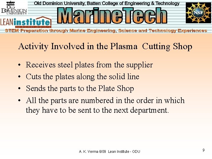 Activity Involved in the Plasma Cutting Shop • • Receives steel plates from the
