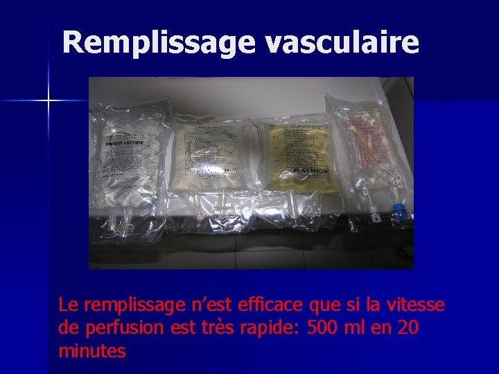 Remplissage vasculaire Le remplissage n'est efficace que si la vitesse de perfusion est très