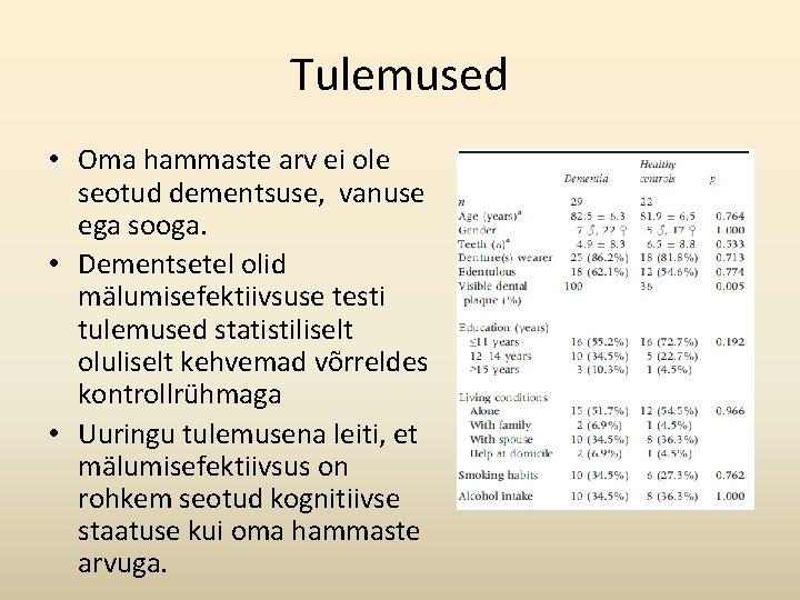 Tulemused • Oma hammaste arv ei ole seotud dementsuse, vanuse ega sooga. • Dementsetel