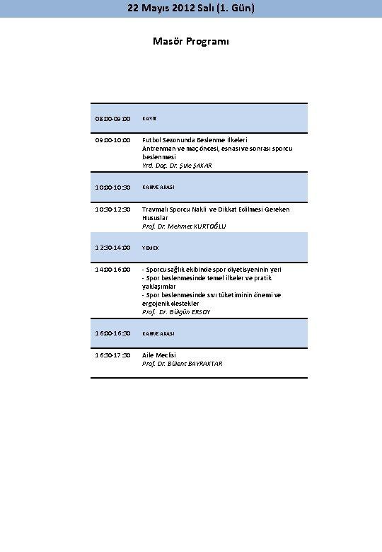 22 Mayıs 2012 Salı (1. Gün) Masör Programı 08: 00 -09: 00 KAYIT 09: