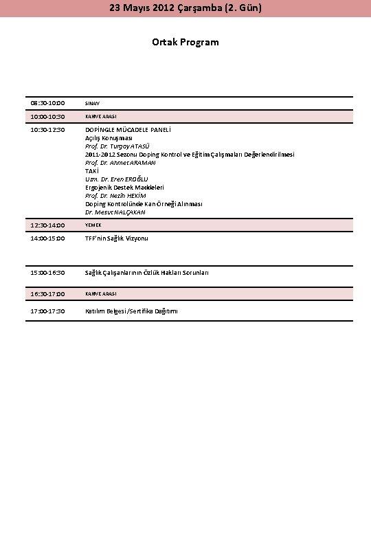 23 Mayıs 2012 Çarşamba (2. Gün) Ortak Program 08: 30 -10: 00 SINAV 10: